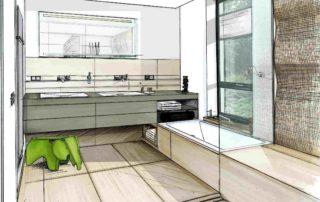 Badplaner realisieren auf nahezu jedem Grundriß ein komfortables Familienbad - gestalterisch Vorzügen bieten Wandfliesen und Bodenfliesen