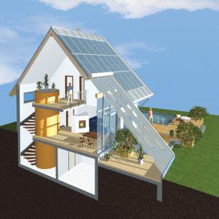 Energieautarke Häuser nach dem Sonnhaus-Prinzip setzen auf die Speicherung von Warmwasser und überschüssigem Strom - und erlauben so die Unabhängigkeit von öffentlichen Stromversorgern