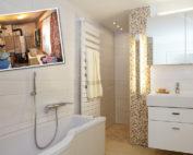 Moderne Gestaltung im Komfortbad mit zeitlosen Wandfliesen, Mosaik in Bodenfliesen in neutralen Farben