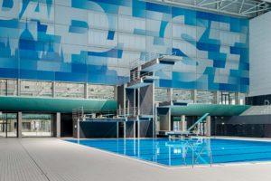 Das Sprungbecken in der Wettkampfschwimmhalle Duna Aréna in Budapest