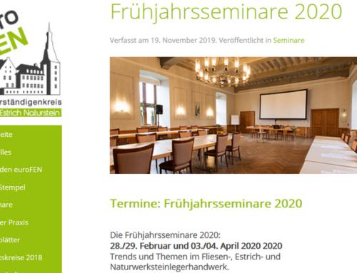 Frühjahrsseminare 2020: Trends und Themen im Fliesen-, Estrich- und Naturwerksteinlegerhandwerk.03./04. April 2020
